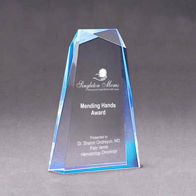 AME 057 -Wedge Facet Award - Blue Ripple - 6x9 - Click Image to Close